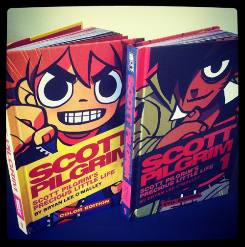 radiomaru:  WHAT IS THE SCOTT PILGRIM EVIL EDITION?  The evil edition (pictured on the right) is basically just the color edition with a different cover. The regular edition doesn't come out until august, and we wanted to have something to show at comic con, so we created a special fun cool interesting awesome fun cool great edition for our fans. It's $40 US and will be a convention exclusive UNTIL AUGUST 8, which is when the regular edition is released, at which point Evil Edition will be available for order from onipress.com (while supplies last).  The COLLECTOR'S EDITION is the crazy one that comes with the Evil Edition cover and a bunch of extra collector-y stuff. It's $100 and there are only 1000 sets in existence. Half of the 1000 will be sold at Comic Con (I bet they'll sell out fast :O) and the other half will also be sold online via onipress.com on August 8th.  We're going to do evil editions for each volume, but as you can see, the book designs match, so you can mix & match on your bookshelf and it'll look goooooood!