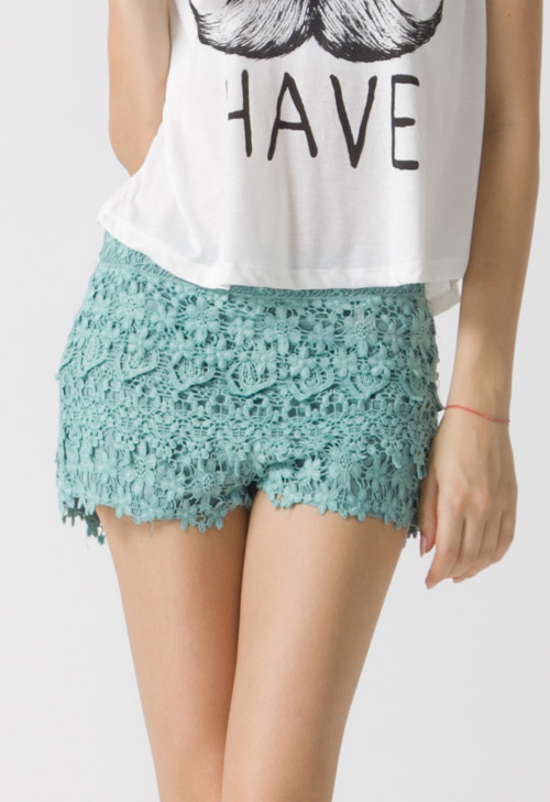 Floral Crochet Shorts (also in peach) ChicWish.com - $39.90