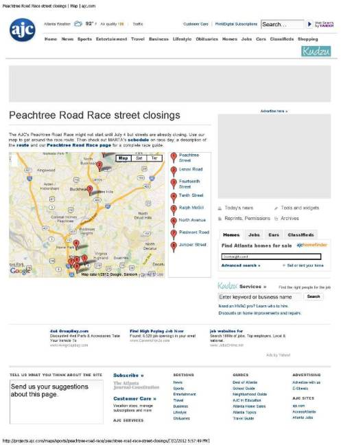 From The AJC: Peachtree Road Race street closings for Wednesday, July 4.