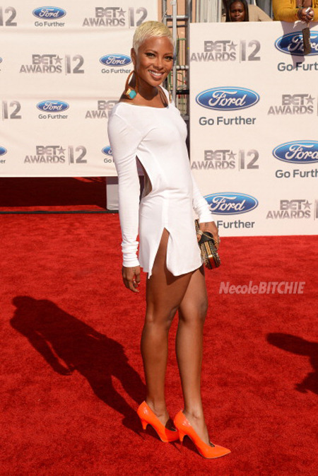 Eva Marcile on the red carpet at the 2012 BET Awards.