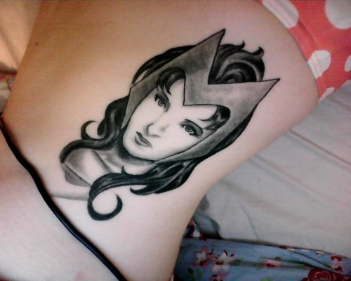 (Sorry about the laptop charger cable!) This is my gorgeous 2nd tattoo, done by BJ at BJ's Tattoo Studio in Woolston, Southampton.  Comics were always a huge part of my childhood and adolescence, and as cliche as it sounds they had a huge influence in teaching me the lessons and morals I use to help me become the person I desire to be. So who better to remind me that I make my own life than my favourite reality-altering superheroine, the Scarlet Witch!