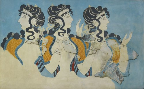 ancientart:  Ancient Minoan, Ladies in Blue fresco, ca. 1525-1450 B.C. Currently at the Metropolitan Museum of Art, New York City.