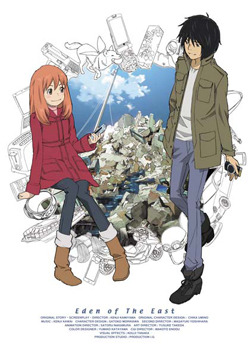 Eden of the East series poster featuring Akira Takizawa and Saki Morimi.