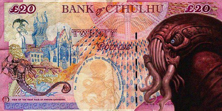 Legal tendrils from the Bank of Cthulhu. Art by Bruce Moore. (Thanks, EJPCreations!)