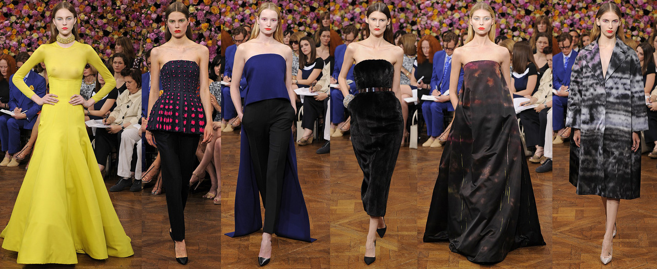 More from Raf Simons' first show for Dior- the Christian Dior Couture Fall 2012 collection. Black and soft pink were punctuated by acid yellow, fuchsia and cobalt blue to great effect. The voluminous citron colored skirt shown with a sheer long-sleeve top will be popping up on red carpets absolutely everwhere. These are clothes for the women who really shop for couture and for stars who can wear such strong clothes- Tilda Swinton and Emma Stone both come to mind. I loved the soft full-length gowns that closed the show, beaded on the front in one color and pattern, and in the back with another. A brilliant way to give a nod to the past, while looking to the future of the brand as well. Bravo Raf! -RS (Images via WWD)