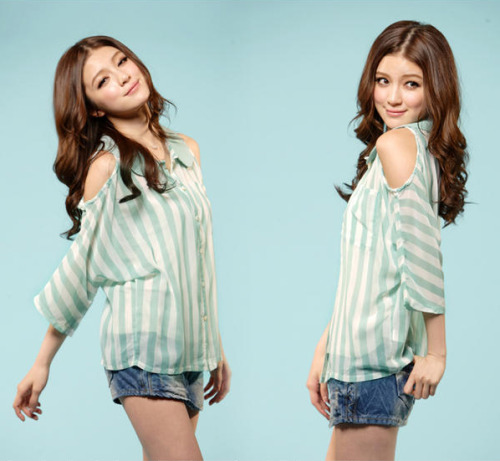 Cut Away-Shoulder Striped Blouse by Tokyo Fashion