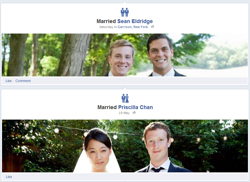 Facebook - The icon for marriages is automatically based on the genders of those involved. /via Sam