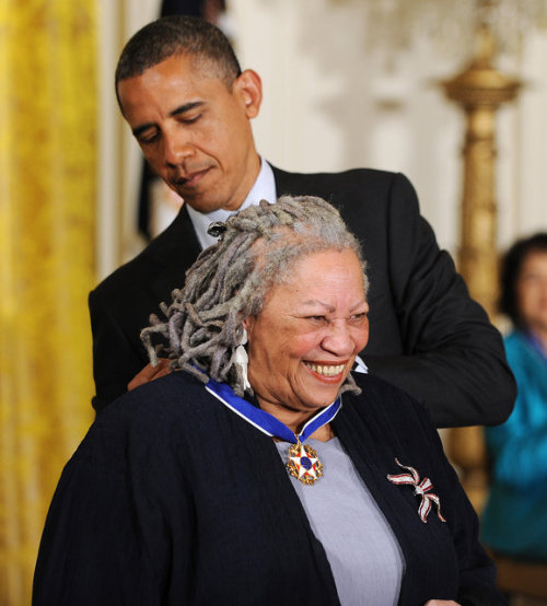 randomhouse:  Glorious! vintageanchor:  Toni Morrison Receives The Presidential Medal Of Freedom…Watch video here.
