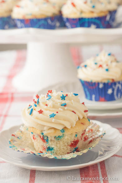 funfetti cupcakes for the 4th of july.
