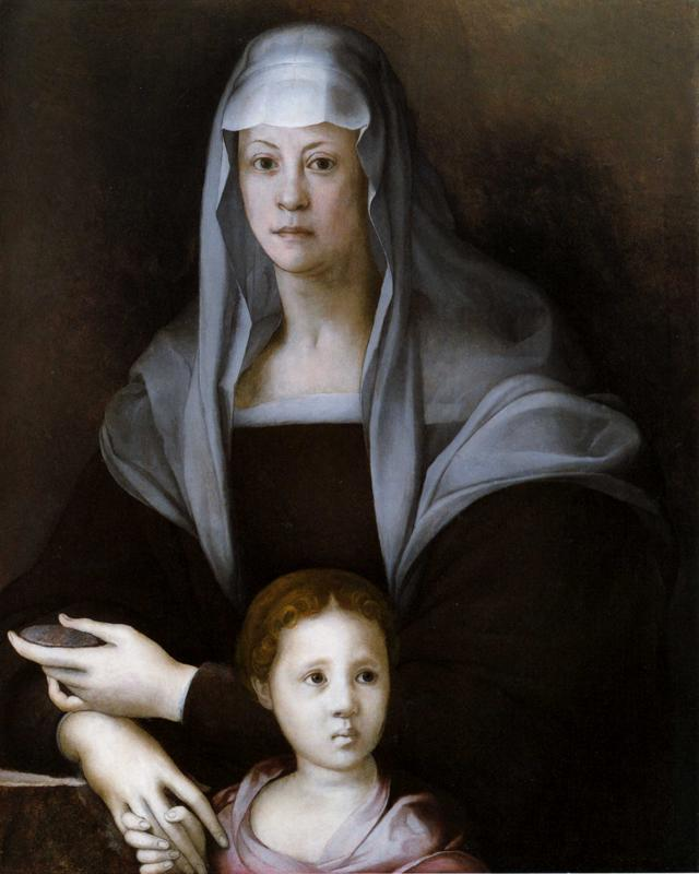 colourthysoul:  Jacopo Pontormo - Portrait of Maria Salviati with Giulia de Medici (1537)