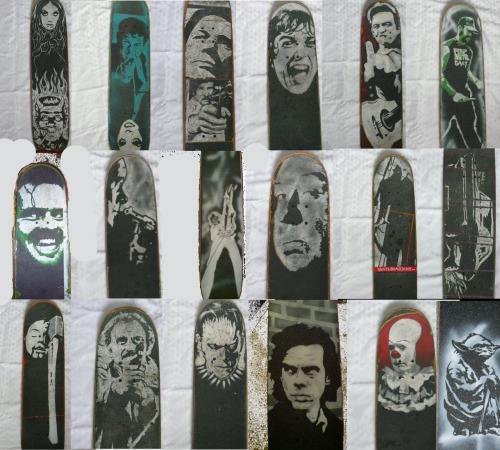 """old boards in no particular order""""the evolution of technique showing transition from hand painted(by smudging white-out pen with thumb) to stenciling single layer to stenciling multi layer By Ryan Moore check my page for latest works"""