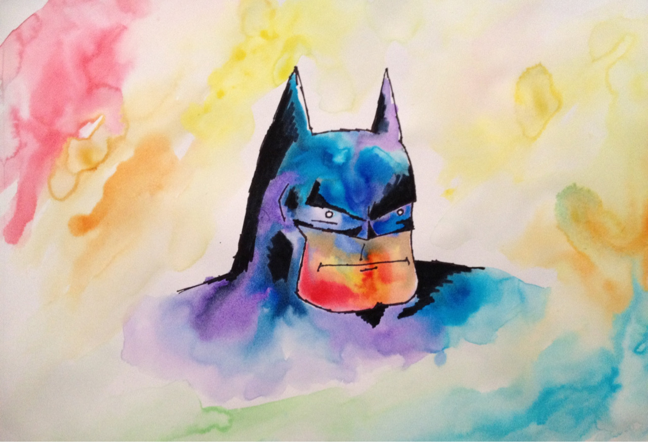 First from the drugstore challenge comes dentist office style rainbow batman. Watercolor, marker, sharpie.
