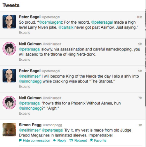 neil-gaiman:  What Twitter is actually for.