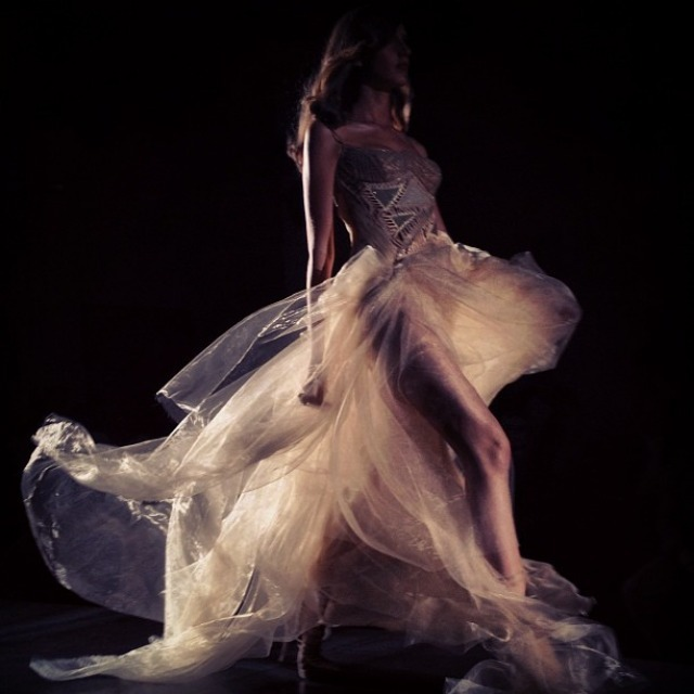 Karlie Kloss walks for Atelier Versace Fall 2012, shot by Nick Knight. (Image via showstudio)
