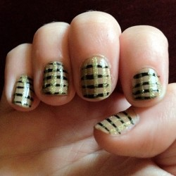 Nude, black, and gold plaid. #nails #glitter #nailart (Taken with Instagram)