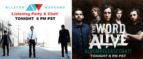 NEW MUSIC TUESDAY ON MONDAY! Allstar Weekend and The Word Alive Host Listening Party Chats TodayAllstar Weekend's new EP The American Dream will be available on iTunes tomorrow, July 3. To celebrate, the band will be live tonight at 6 PM PST / 9 EST to play live clips and chat about the new record. Tune in and join at http://www.stickam.com/allstarweekend.Then, at 8 PM PST / 11 EST, join Fearless Records' The Word Alive for a live chat to celebrate the release of their new album, Life Cycles. Life Cycles will also be available on iTunes at midnight tonight! Tune in at http://stickam.com/thewordalive.