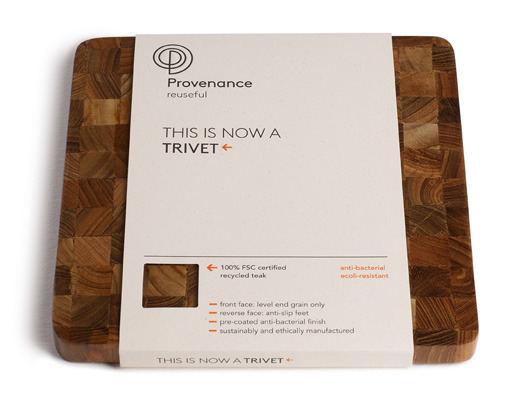 Recycled teak trivet (with creative packaging): Provenance.