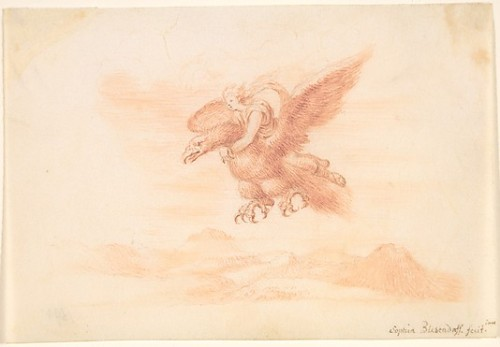 The Rape of Ganymede by Sophia Blesendorf, 1694, red chalk with graphite underdrawing, The Metropolitan Museum of Art.