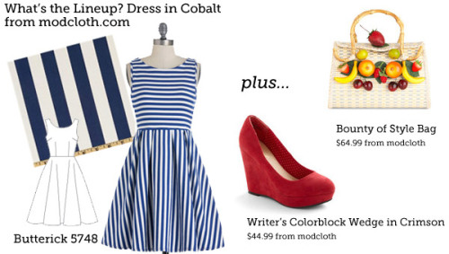 (via Make This Look: What's the Lineup? Dress in Cobalt. | The Sew Weekly - Sewing & Vintage Lifestyle)