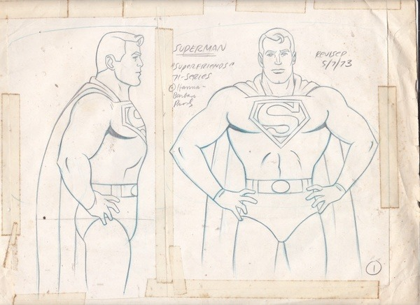 retrogasm:  SUPERMAN Original Art Hanna-Barbera 'Superfriends' 1973