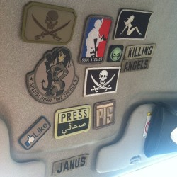 janussaint:  The ceiling of my car doubles as my morale patch gallery, ready to be used on my tactical jacket/edc bag. #killingangels #patch #morale #edc #patches #car #collection #nametape #msm #tactical #tacticool #like #pirate #magpul #airsoft #military #ceiling #instagood  (Taken with Instagram)