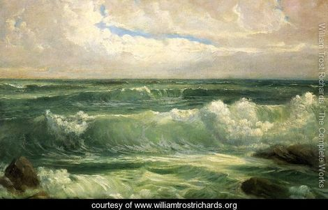 "William Trost Richards (June 3, 1833 - April 17, 1905) This painting Breakers II has been luring me into thoughts of planning a heist. I remember visiting a beautiful home and there it was, this painting that mesmerized me. Never fancied myself a early American landscape painting type of person. But this seascape was my childhood house's backyard. I would lay winkless as lights in my surrounding neighborhood one by one turned off and people were in there own little dreamworld. I am a chronic insomniac or maybe just a worry-wort. I imagine just like the ice-cream truck melody must haunt the man working the job, the song ""Que Sera Sera"" (technically it was Che Sera Sera written for Alfred Hitchcock's film in 1956) would run in my head over and over again. The unknown was and still continues to be a fearful force to face. The only way I could calm myself down was climbing out my window and sneaking to sit by the Mediterranean Sea and watch waves crash onto shore and lull back again. This energy (kinetic and potential) was my reassurance that the world would go round and round. Therefore I should let go, close my eyes and dream."