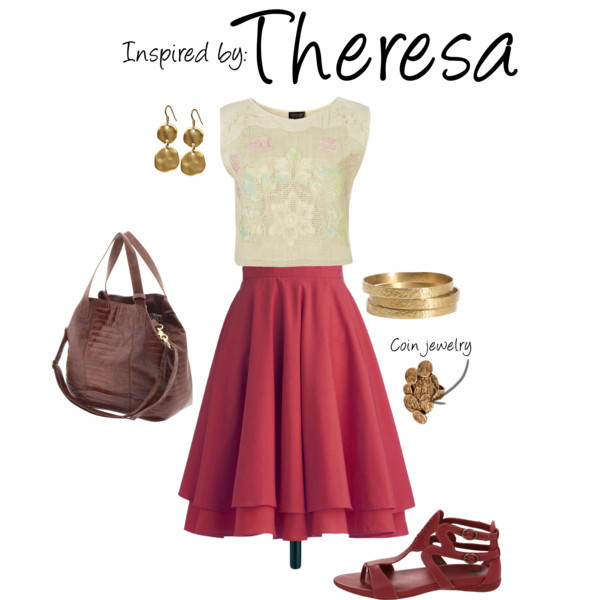 Theresa (Fable 2) by ladysnip3r featuring coin earrings This outfit is inspired by Theresa of Fable 2. I chose to pair a burgundy skirt with a detailed crop top because it mimics the layering and colors of her in-game robe. I also chose dark burgundy leather accessories and coin jewelry that imitate hers. This outfit is pretty versatile and could be worn for the office or date night. (Reference Image) Cotton shirt / Burgundy skirt / Big Buddha  handbag / LowLuv 14k jewelry / Jigsaw set of bangle, $61 / Hive & Honey coin earrings