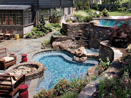 georgianadesign:  Firepit, spa, waterfall and pool. Landscape Techniques.