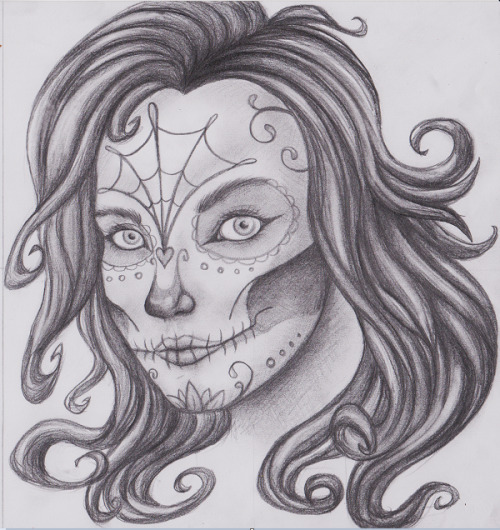 A sketch for a huge painting I'm doing. C: Day of the dead candy skull makeup is so beautiful.