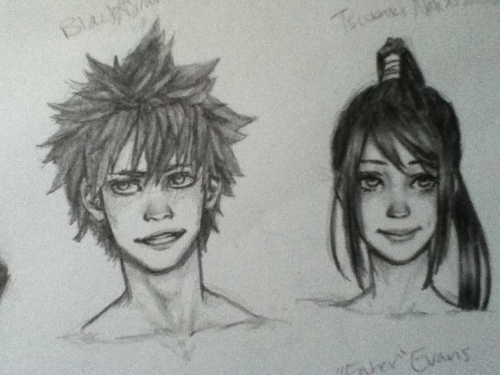 jazz-the-weirdo-artist:  Realistic-ish blackstar and tsubaki I can only post as a picture bc I'm out of state and without a scanner. Did these mini portraits during the 12 hour car ride.