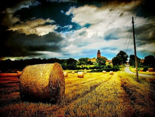 Lovely picture of Texas with hay bales, and I believe if you look in the distance you can see something that looks like a Spanish mission. Just wonderful <3
