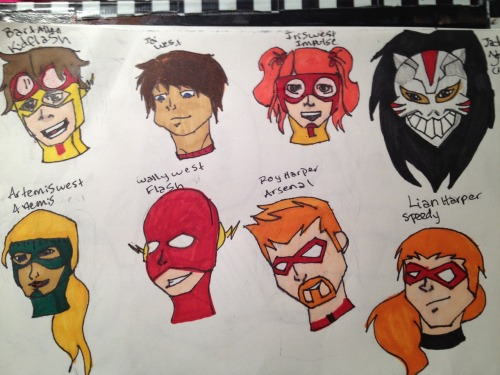 A little head doodle I colored. I hate how I drew Wally and Artemis. Everyone else can stay. And I like Roy's beard here. No one can convince me otherwise