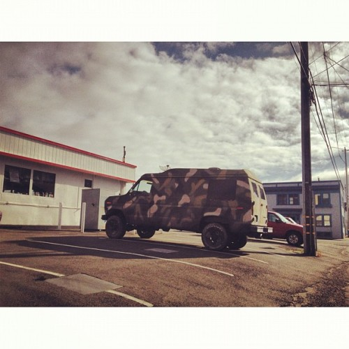 Almost didn't see this van! #ispy #camo #camouflage #van #satellite #humboldt   (Taken with Instagram)