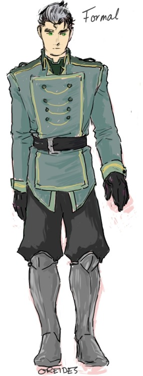 oreides:  the colored formal metalbender cadet uniform! the non-bender cadet uniforms are very similar, but with a different color scheme. edit: (but Bo keeps his usual undershirt.)