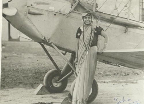 fuckyeahsouthasia:  Sarla Thakral: The first Indian woman to fly a plane, back in 1936.