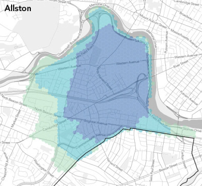 crowdsourced neighborhood boundaries (areas of consensus) via Bostonography so many hexbins