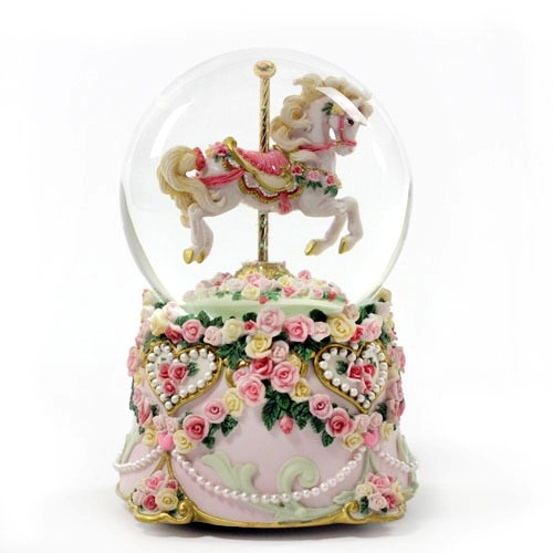 San Francisco Music Box Hearts & Roses Carousel Collection Waterglobe - Giving Gallery