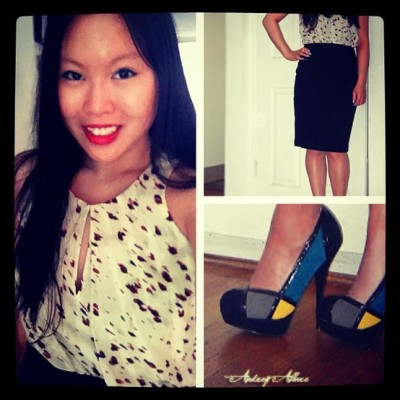 Printed blouse + pencil skirt + colorblock heels. See more of my post
