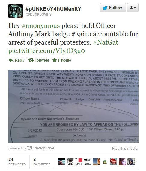 This Occupier is an organizer and has tweeted out threats to officers before. If anything happens to this policeman, I hope they nail this guy.