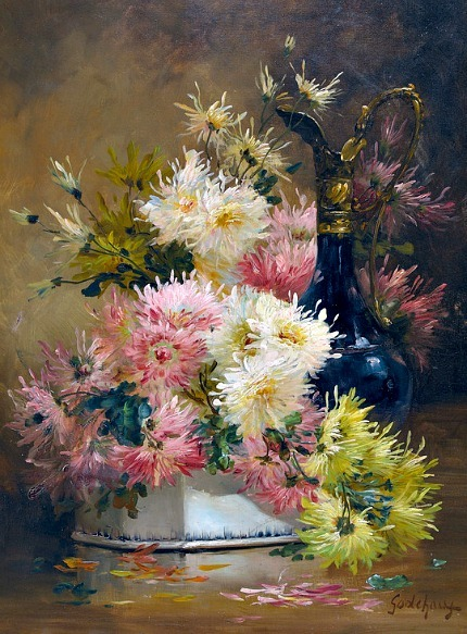 Godchaux Still Life with Dahlias and Carafe Late 19th - early 20th century