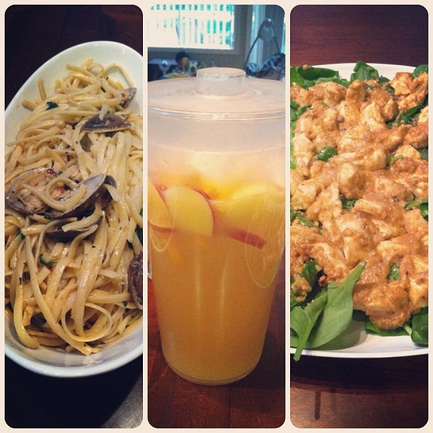 #homemade #dinner #clam #linguine #fruit #mimosa #chicken #swimmingrama 😁🍴 (Taken with Instagram)