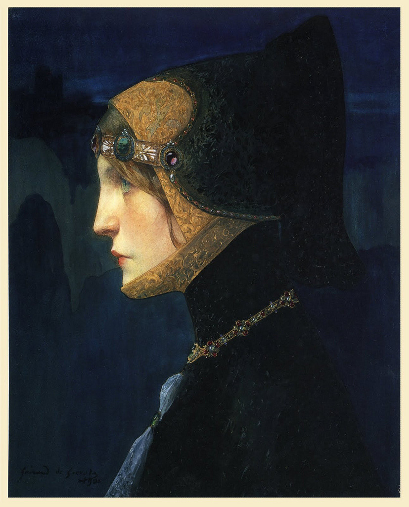 "Lucien Victor Guirand de Scévola ""Head of Lady in Medieval Costume"" 1900 (by Art & Vintage)"