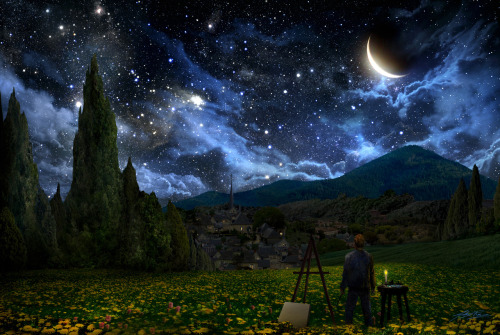 "musiccontrolsme:  Artist Alex Ruiz paints what he imagined the sky looked like when Vincent Van Gogh painted ""Starry Night"". http://fineartamerica.com/featured/starry-night-alex-ruiz.html Prints available in this link.  ^"