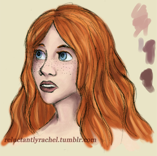 Work-in-progress shot of a facial study. Poofy hair is fun to draw. Teeth are hard to draw. Drawing! Subject is a character from that book I'm not writing, a spacey Welsh Minnesota-born daughter of an inattentive hippie-lawyer.