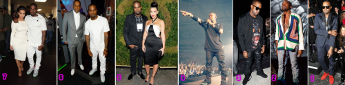 "Kanye West's style evolution during the last couple of years (click on the above image to see it bigger).  From right (oldest) to left (up-to-date): 1: ""Louis Vuitton Don"" phase, when he decided it was high time to step his fashion game up. 2: ""I wear Women shirt"" phase, when he decided wearing Céline design, even from the women line, was being avant-gardist 3 to 5: ""All black Givenchy everything"" phase, when he managed to get acquainted with Riccardo Tisci, the designer himself being inspired by rap, dark side of the force and religion at the time. 6 & 7: Are we entering an ""All white 3.1 Phillip Lim"" phase? Kanye West was in head-to-toe white for BET Awards yesterday and we still don't know if it was some irony trick since it's an ""all black"" event (B.E.T standing for Black Entertainment Television). Wait and see…"