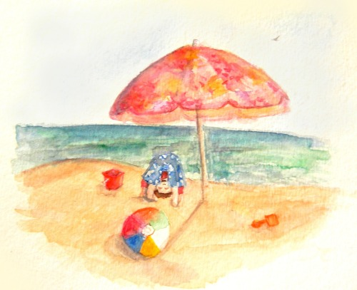 """Beach Scene"" watercolor this is what i came up with while relaxing at the beach:) Ask about prints/commissions :)"