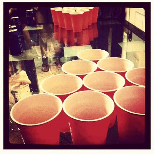 donasoar:  Cup-ples Beer Pong Ever wanted to play some beer pong, but had no beer? Or maybe just wanted to have some fun? Singles only game! Rules With each shot made, the other team must kiss each other on the cheek. (1 cup) If both players make a cup, they can shoot again and the other team must kiss each other. (2 cups) If a bounce shot is made, the other team must make out for 5 seconds. (2 cups) If both players shoot and make it in the same cup, they can shoot again and the other team must give each other a hicky. (3 cups) If a player takes a shot and misses, but is able to get the ball back before it touches the floor, they are allowed to shoot again, but only while kissing their partner. I wanna play