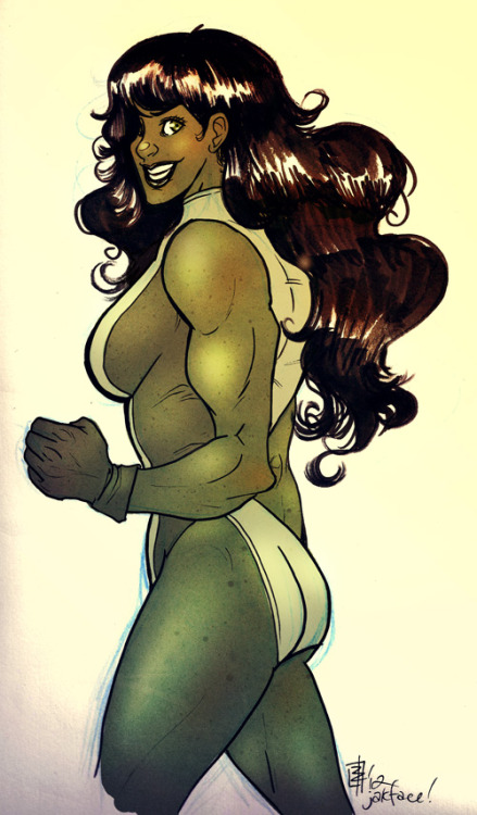 She-Hulk for Mighty-Grifo! :D He drew me many sexy Grooses and Bolins, so I gave him his favourite strong female character hohoho! <3