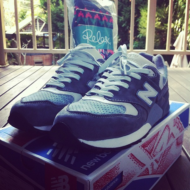 The best possible box of goodies to come home to @ronniefieg x #newbalance 999 and a pair of Relax Socks. Thanks @brendanupthere @jasonupthere (Taken with Instagram)