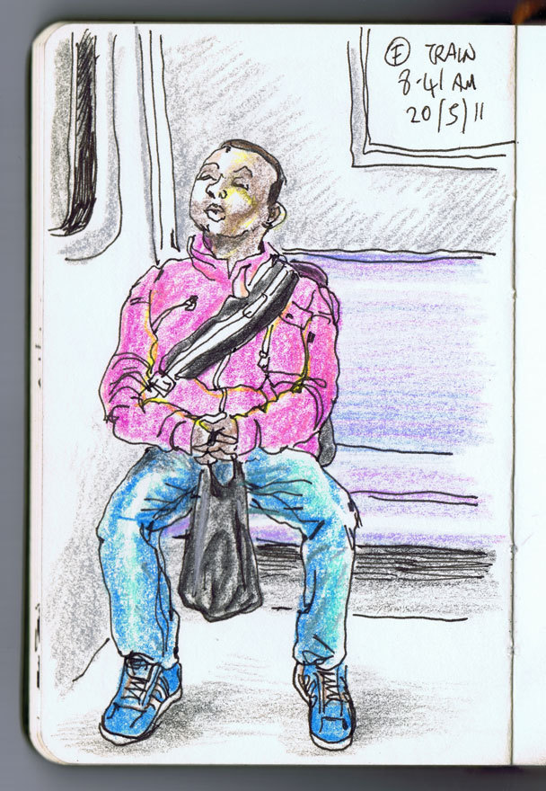 NY portraits: small boy asleep on the F, 8.41am, 20/5/2011